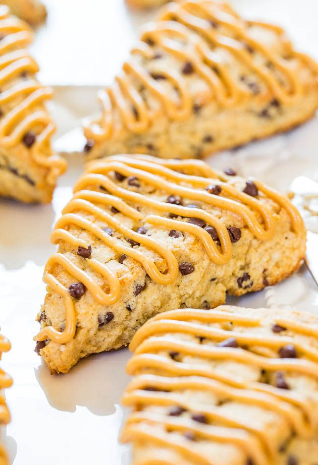 Peanut Butter Chocolate Chip Scones - Easy scones that are moist, full of flavor and loaded with chocolate chips! (and not dry!)