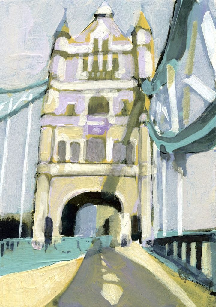 Tower Bridge. Painting © Camilla Dowse. Shadows. Sunlight. London. Architecture. Famous landmark. Capital. Acrylic. Paper. Art. Prints available Artfinder.com