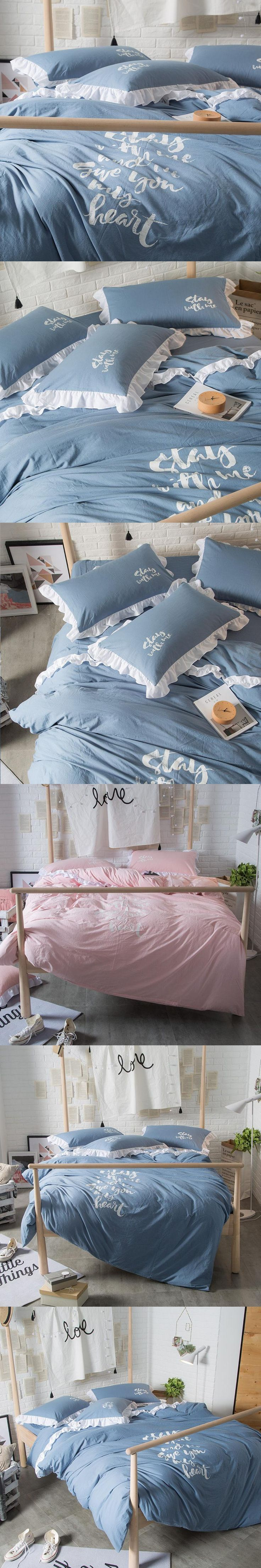 new korean princess washed cotton king size bedding set pink flat sheet solid color fashion letters