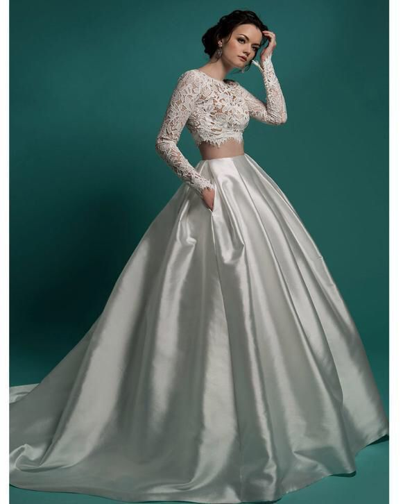2 piece crop top ball gown wedding dresses