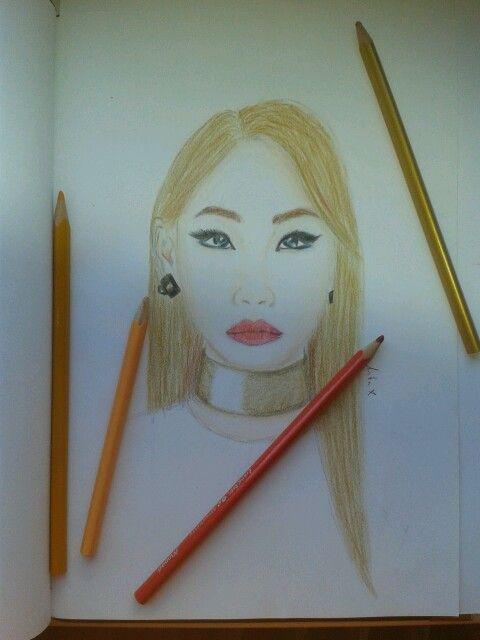 2ne1 CL drawing :-) I really like Doctor Pepper song <3
