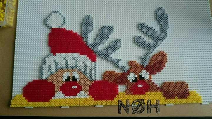Santa and Rudolf Perler Beads #hama