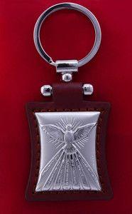 Brelok srebrny w skórze - Duch Święty