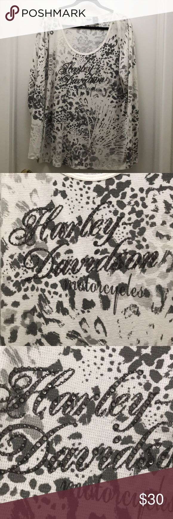 Official Harley-Davidson women's long sleeve top Because nothing says Harley like animal print and bling!! Long sleeve waffle knit top. Blinged out HD front and back! Size 2W Harley-Davidson Tops Tees - Long Sleeve