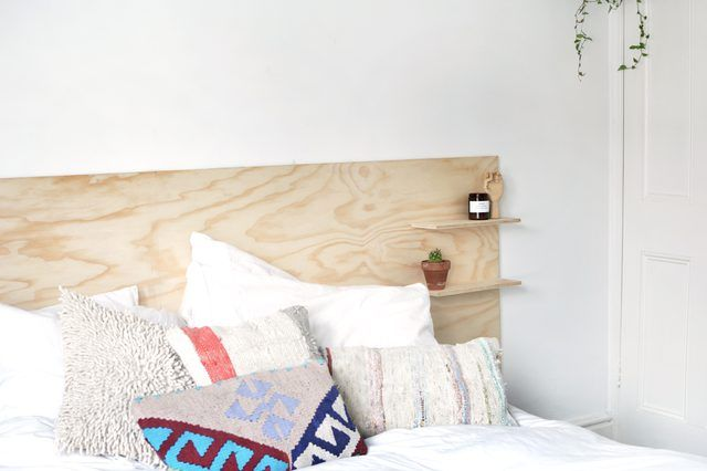 Easy To Make Modern Plywood Headboard With Built In Shelves