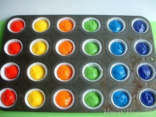 Doing the cupcakes this way, then displayed in a rainbow form :)  I'm going to make Layla a seperate rainbow layer cake.
