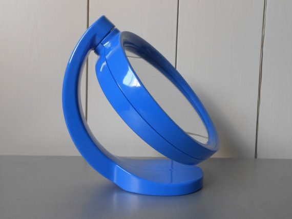 Vintage plastic make up mirror in bright blue. Swivel mirror. Magniffying mirror. Bathroom. Bedroom. Two sided retro mirror. Space age