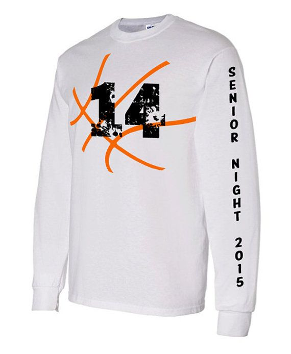 Senior Basketball Long Sleeve Shirt, Senior Night 2015 Basketball Shirt, Personalized Basketball Tee. Shirt comes with Basketball and number on