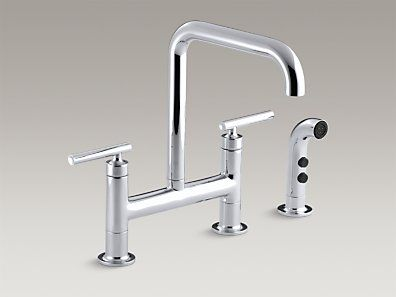 Purist Deck Mount Bridge Kitchen Sink Faucet With Spout Matching Finish Sidespray And Lever Handles