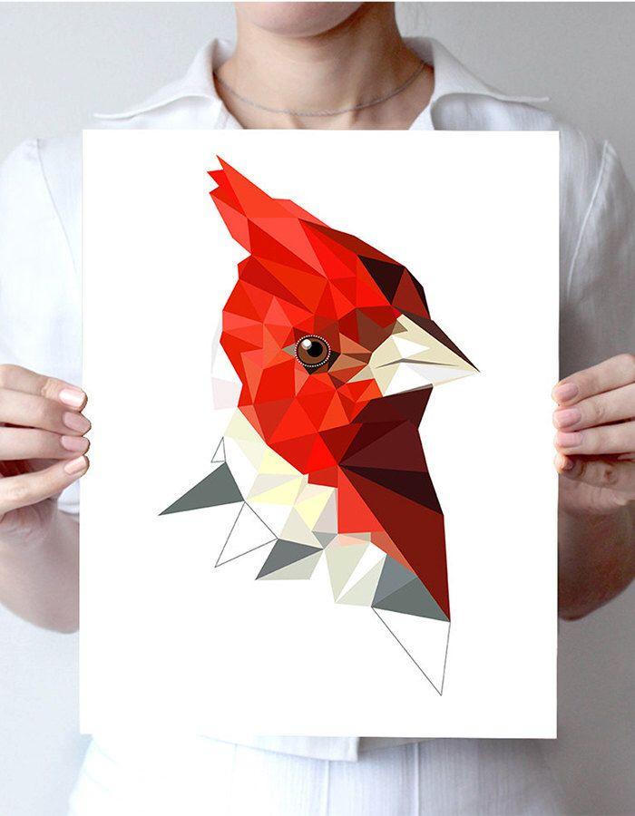"Red-crested cardinal - art print 6""x4"" , 8""x10"" or 11""x14"" - Geometric - Bird art -  red, black by villavera on Etsy https://www.etsy.com/listing/213869437/red-crested-cardinal-art-print-6x4-8x10"