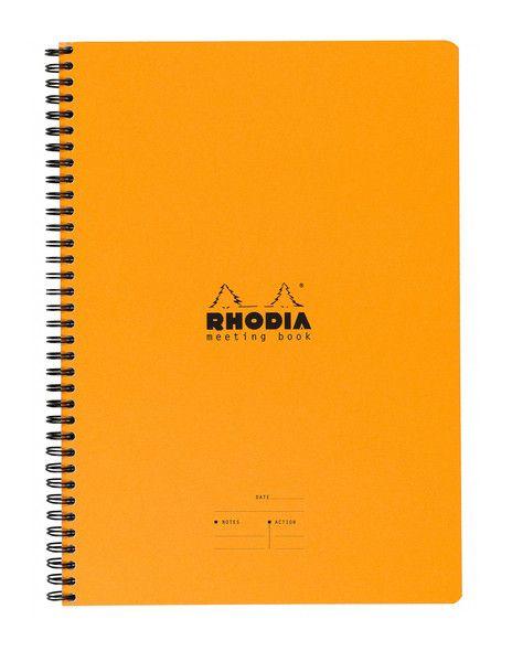 Rhodia Wiredbound A5 Meeting Book 6.5 x 8.25 Orange Lined