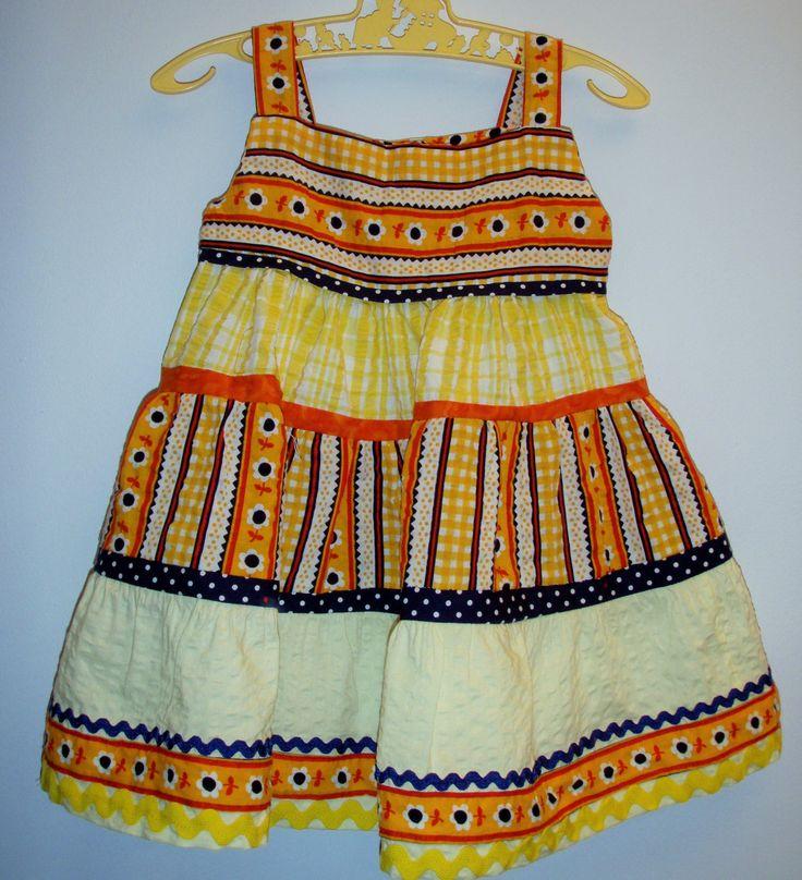 Sunshine baby dress, seersucker, daisy, 1 12-18 months, summer yellow and orangebright, baby gift, unique, frills, pretty, infant dress by LittleLarkClothing on Etsy