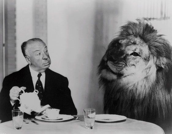 Alfred Hitchcock serves high tea with the kind of the jungle