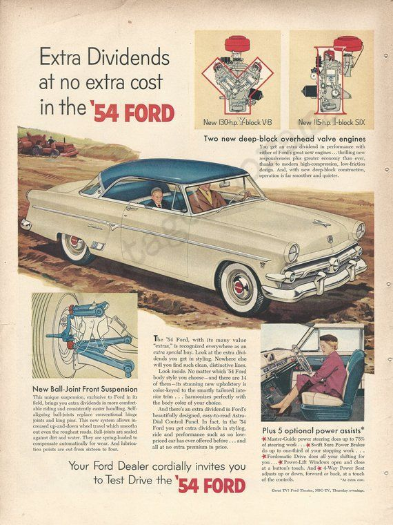 Ford Crestline Automobile Original 1954 Vintage Extra Large Color