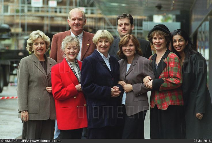 STOCK IMAGE - Back Row Left: DUNCAN PRESTON  and Right: ANDREW DUNN  Front Row Left to Right: ANNE REID; THELMA BARLOW; VICTORIA WOOD; JULIE WALTERS; CELIE IMRIE and SHOBNA GULATI  Cast of the new BBC TV comedy... by www.DIOMEDIA.com