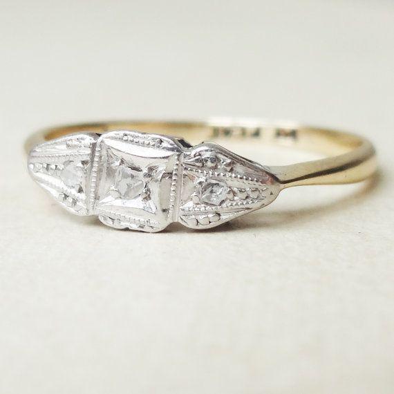 Art Deco Milgrain détaillée Diamond Ring bague en diamant 9k Gold et Platinum Engagement env. taille US 6
