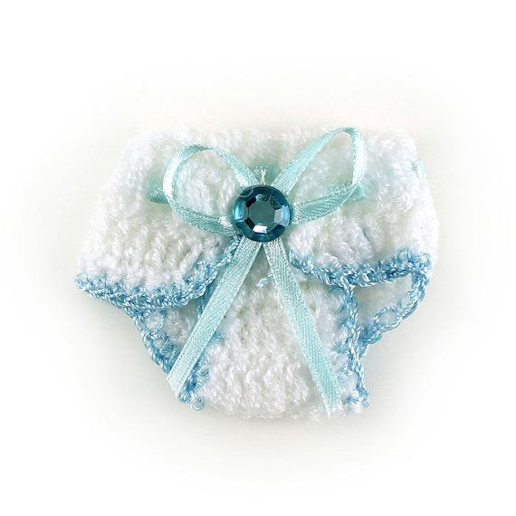 "Baby boy mini diaper Crochet Baby Shower decorations, Shower favors, Knit Crochet Baby Diaper Baby Shower Decoration Favor 2.5"" (pack of 12)..."