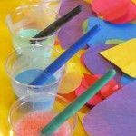 Making glue paint in preschool