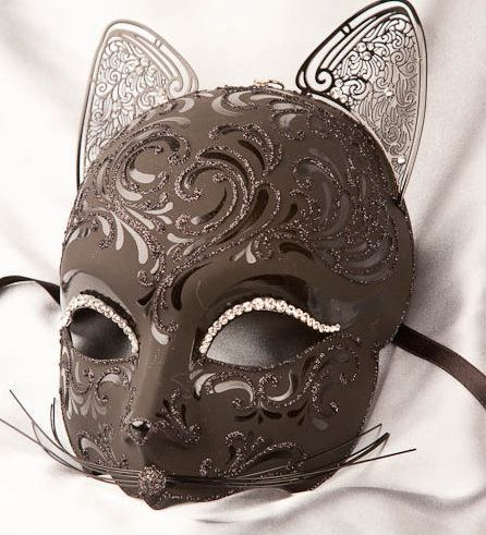 Gloss Black - Paper Mache Masks - First Paper Wedding Anniversary Gift