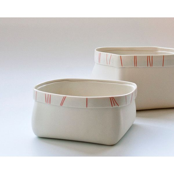 porcelain serving bowl with red orange stripes (Medium contemporary... ($75) ❤ liked on Polyvore featuring home, kitchen & dining and serveware