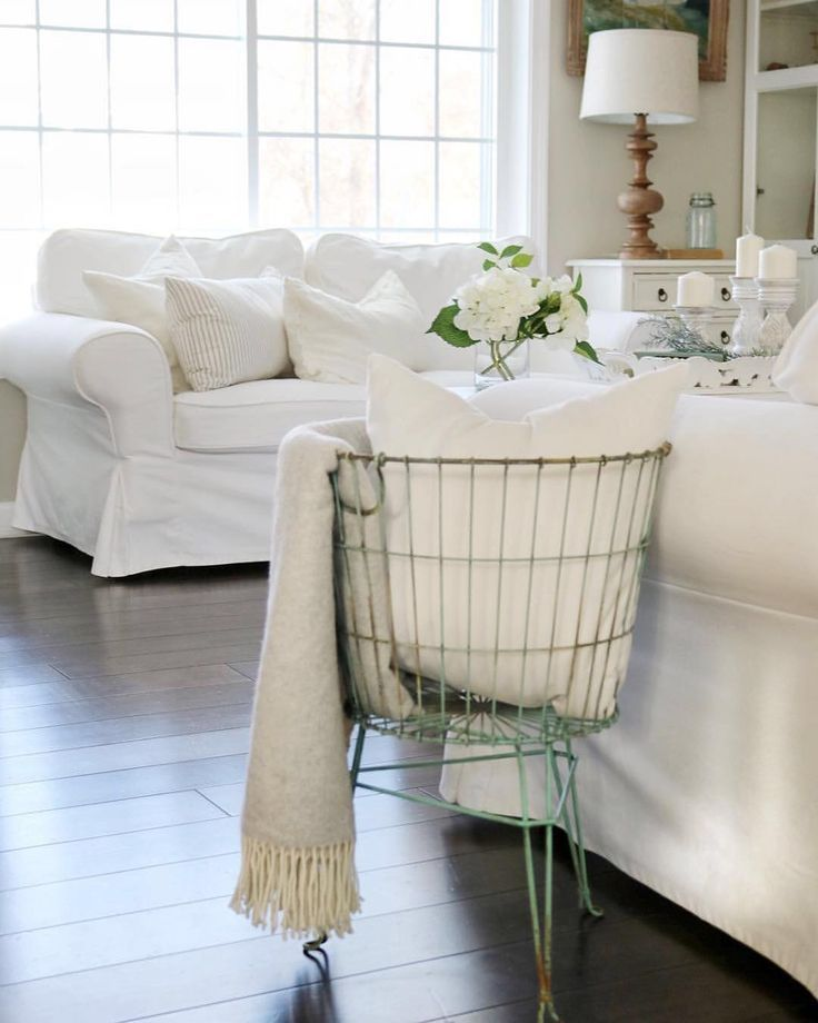 White Slip Covered Sofas In 2019 Farmhouse Living Room