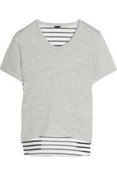 3.1 Phillip Lim|Cotton and striped stretch-silk chiffon T-shirt|NET-A-PORTER.COM - StyleSays