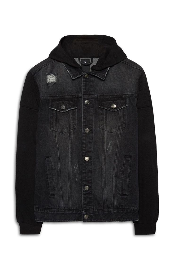 Zwart denim jack met hoodie