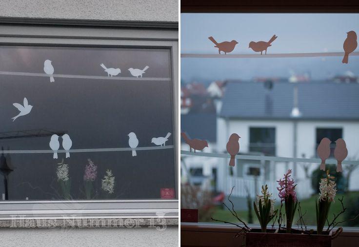 Haus Nummer 13: DIY Kommt ein Vogel geflogen – Fensterdeko für den Frühling – …
