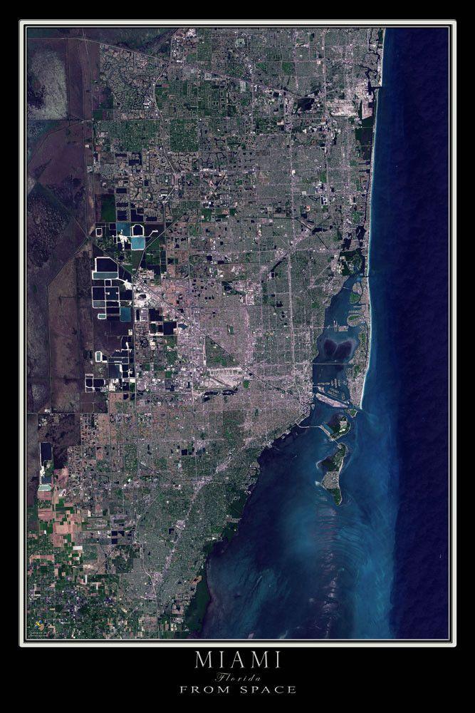 miami florida satellite poster map