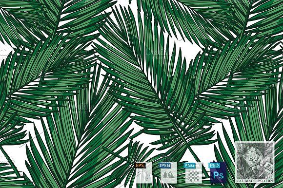 Pattern with Phoenix palm leaves by CatMadePattern on @creativemarket