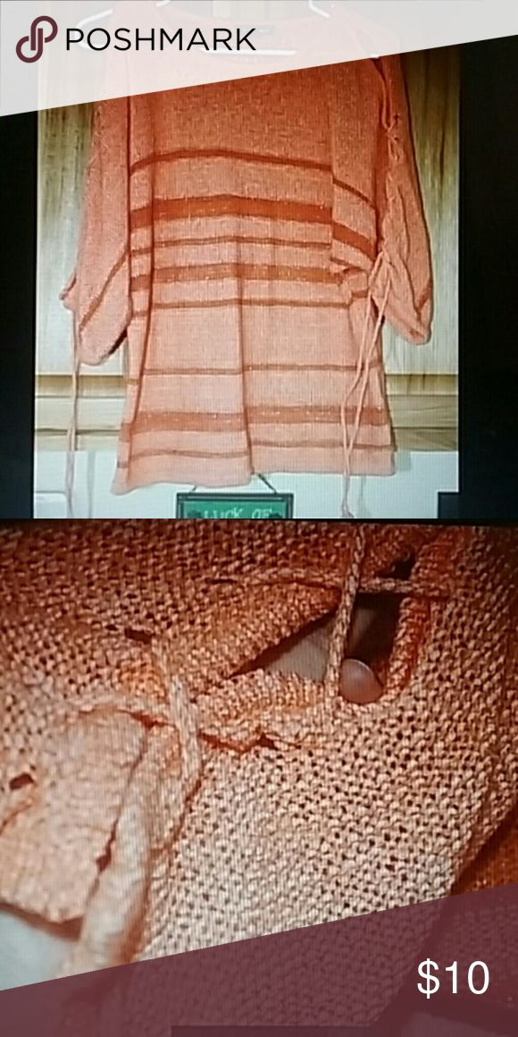 """Open armed sweater Sz 1xl, orangeish peach, 3/4"""" sleeves with the arms open just tied together. Bust 23"""" length 27"""" Roz & Ali Sweaters Crew & Scoop Necks"""