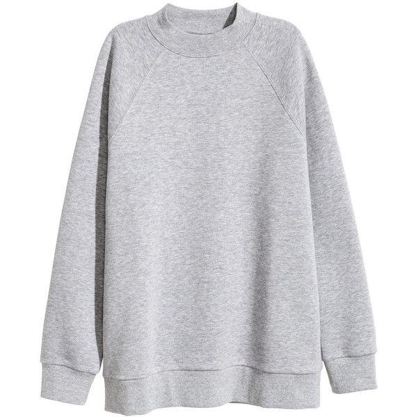 Sweatshirt with Raglan Sleeves $24.99 ($25) ❤ liked on Polyvore featuring tops, hoodies, sweatshirts, oversized sweatshirts, long length tops, grey ribbed top, grey sweatshirt and oversized grey sweatshirt