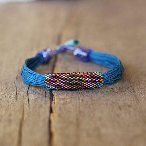 Tribal bracelet blue linen bracelet colorful by Naryajewelry, $40.00
