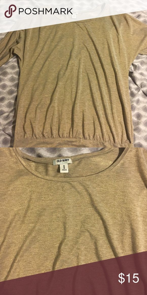 Gold long sleeve dolman Beautiful long sleeve top from Old Navy, size medium. Has a slight dolman sleeve, in great shape, only worn a few times Old Navy Tops Tees - Long Sleeve