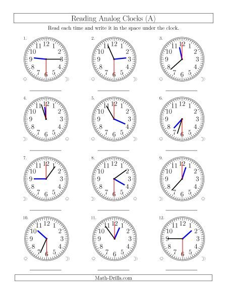 Reading 12 Hour Time in 30 Second Intervals (12 Clocks