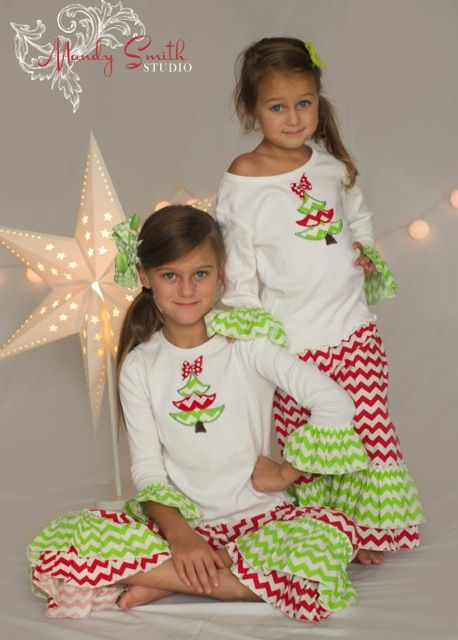 Toddler & Girls Cute Chevron Christmas Tree Ruffle Pants Set|Baby & Toddler Girls Christmas Outfits|Cute Christmas Clothes|Boutique Clothing for Holidays|Personalized Holiday Clothes for Girls|Monogrammed Chevron Outfits