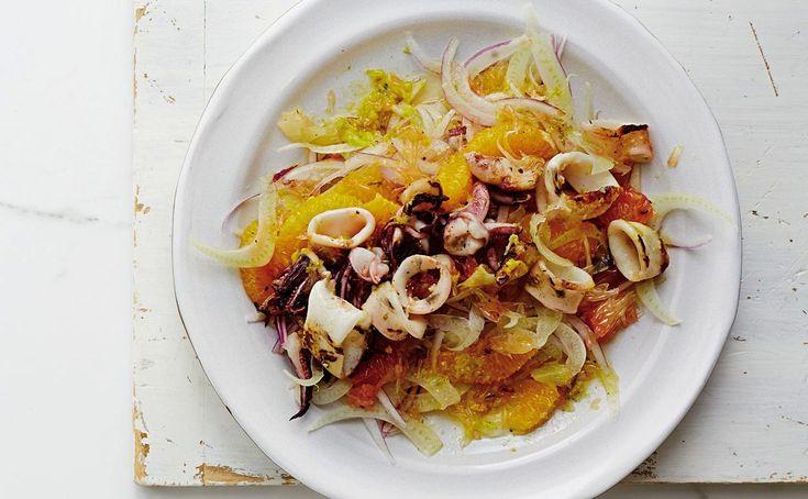 Mat som gör en glad(are) | Nöjesguiden  |  Sallad med fileade citrusar, tunt skuren fänkål & grillad bläckfisk