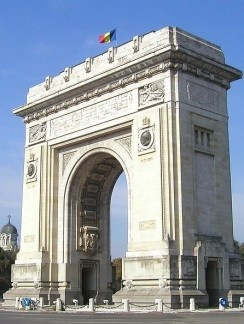 The Triumphal Arch, at the end of the beutiful Kiseleff Bvd. in Bucharest, Romania