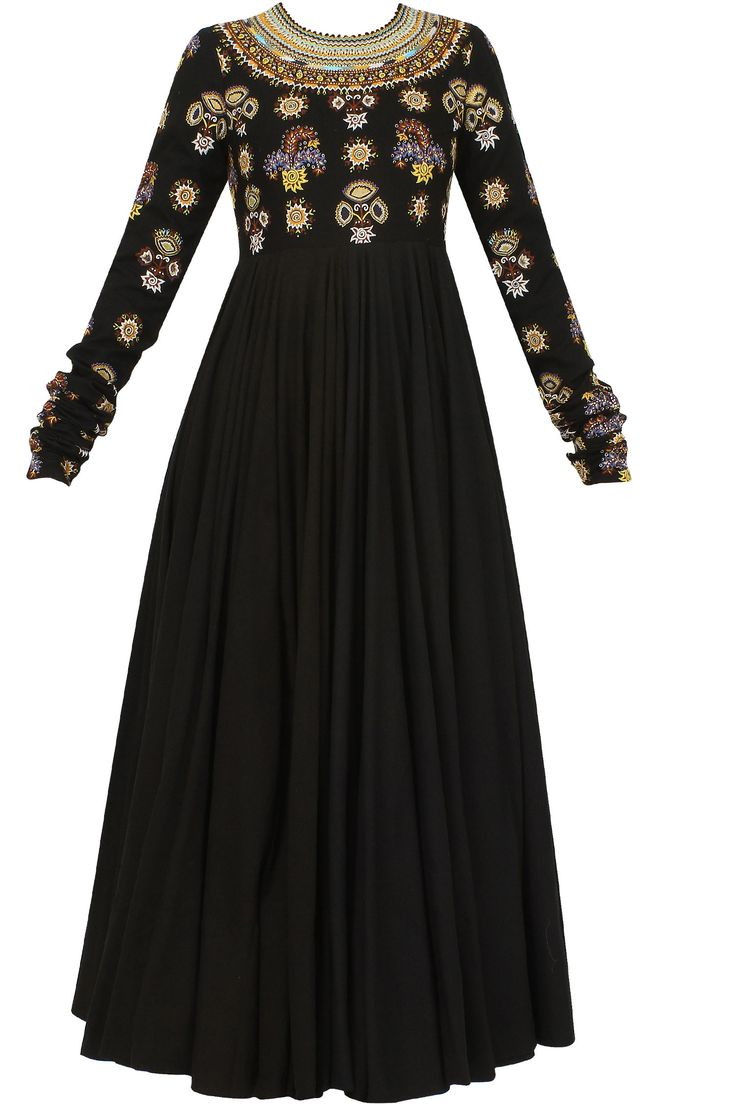 Black anarkali set with tribal embroidery