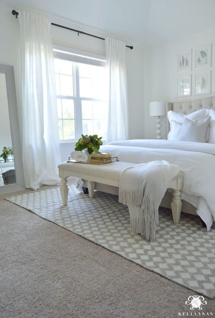 White Guest Bedroom Retreat (NOTE: this is a 5x8 rug under a queen bed)