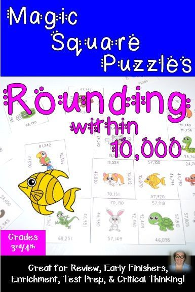 Rounding to the nearest ten, hundred, thousand, and ten thousand Magic Square Puzzles - 9 puzzles - $ - Helps cover CCSS 3.NBT.A.1 and 4.NBT.A.3. There are nine differentiated puzzles included so your 3rd and 4th grade students can get some extra rounding practice in during math time in your classroom. These are great for centers, review, early or fast finishers, enrichment (or GATE), test prep, and critical thinking skills. Click through to buy your copy now!