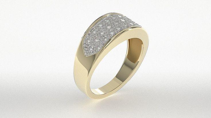 Złoty pierścień z diamentami./ Golden ring with diamonds.