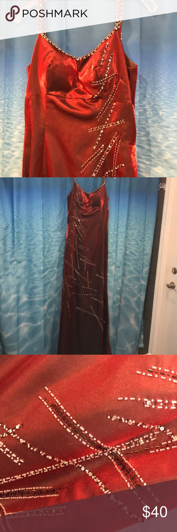 "Red Metallic Formal Long Dress with small Train Very stunning red metallic long dress. Gorgeous beading. Size 10. Front of dress 61"" long from top of shoulder. Back of dress 71"" long from shoulder. EUC Bella Formals by Venus Dresses Prom"