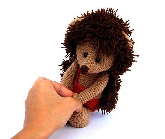 crocheted hedgehog animal amigurumi stuffed brown by crochAndi