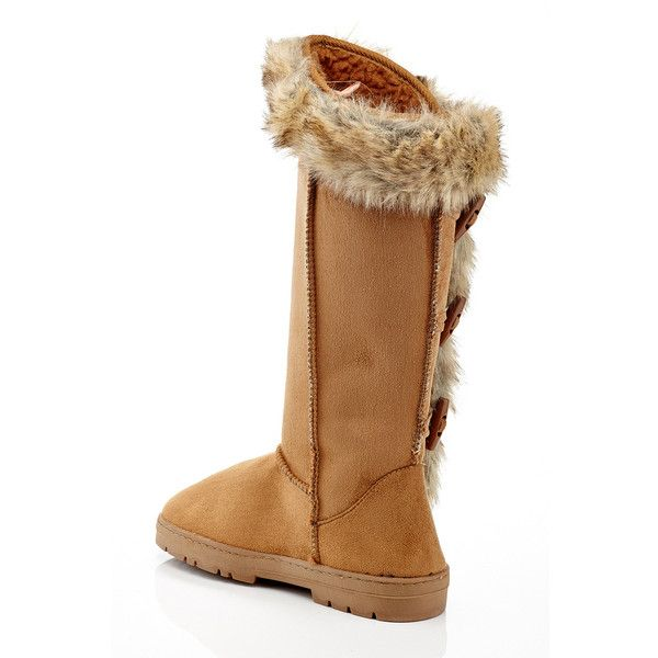 Women's Rasolli Faux-Fur Lined Womens Boots 6 Medium Chestnut ($30) ❤ liked on Polyvore featuring shoes, boots, beige, boots & booties, flexible shoes, chestnut boots, beige boots, faux fur lining boots and faux fur lined boots