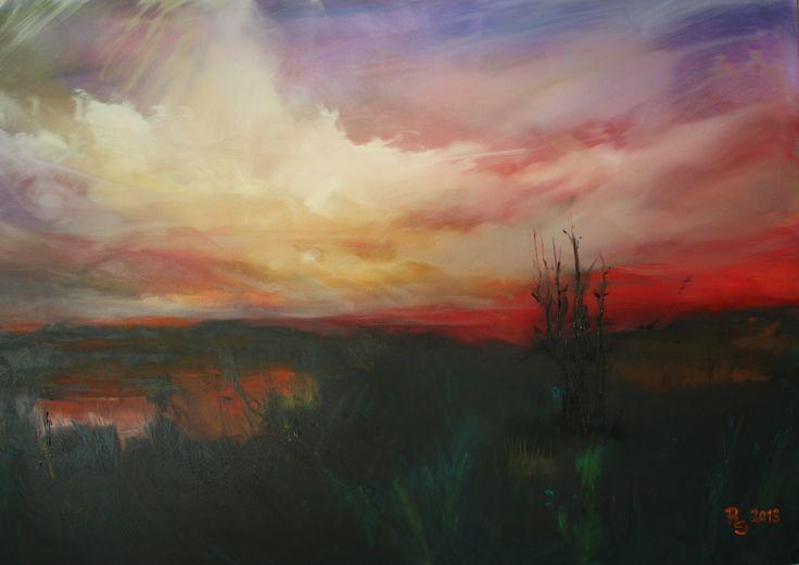 Abendstimmung im Moor, Öl auf Lw,  80 x 120 cm www.roswitha-schablauer.at