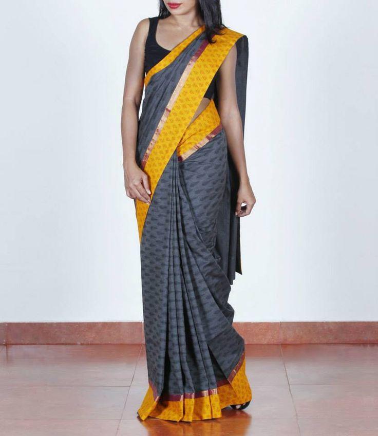 Dark grey, handloom cotton #saree, Shop at http://bit.ly/1w3zNhC