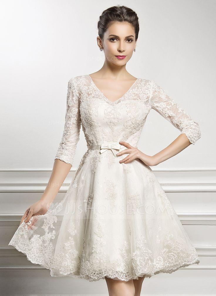 Vestidos princesa/ Formato A Decote V Coquetel Cetim Renda Vestido de noiva com Curvado (002056986) - JJsHouse