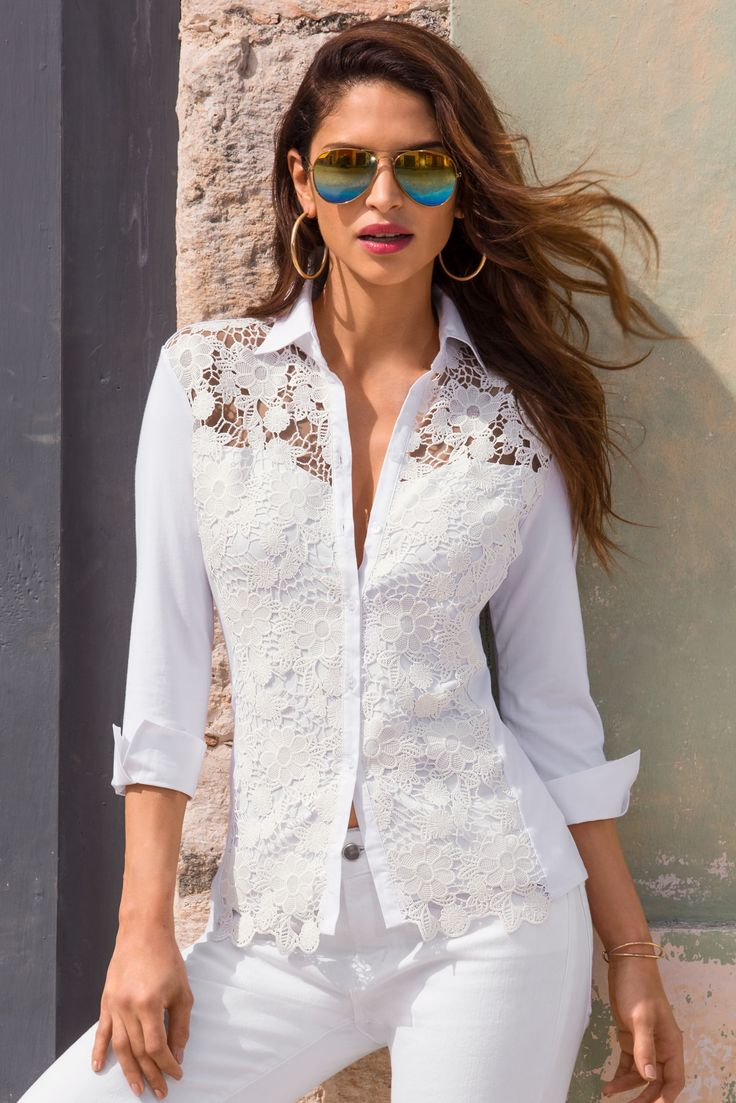 Trending Fashion | Women's White Collared Top by Boston Proper.