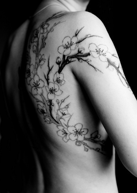 Tattoo flower blossomWhite Tattoo, Tattoo Pattern, Tattoo Inspiration, Tattoo Flower, Tattoo Design, Shoulder Tattoo, Cherries Blossoms Tattoo, Cherry Blossoms, Flower Tattoo